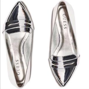 GUESS SILVER LOAFERS FLATS mirrored patent 9